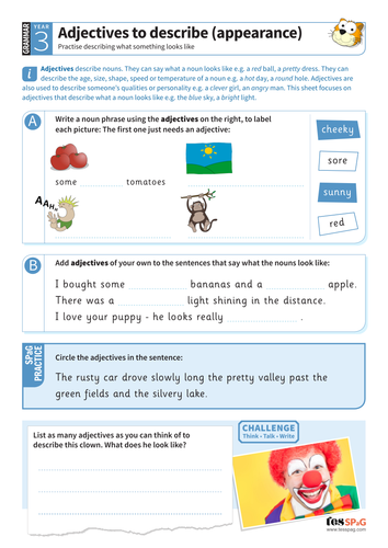 Using Adjectives To Describe Appearances Worksheet Year 3 Spag By