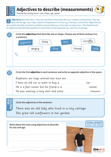Using adjectives to describe measurements worksheet - Year 3 Spag