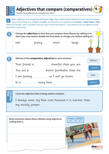 Using adjectives that compare two nouns worksheet - Year 3 Spag