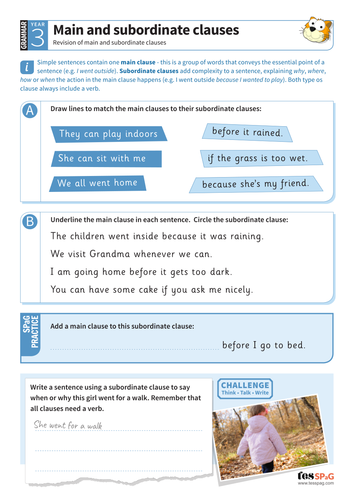 Using main and subordinate clauses worksheet - Year 3 Spag