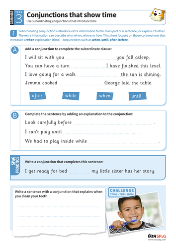 Using conjunctions that show time worksheet - Year 3 Spag