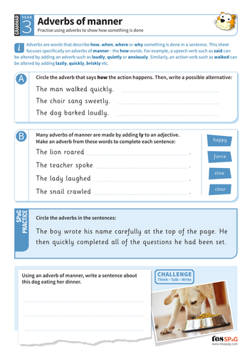 Using Adverbs Of Manner Worksheet Year 3 Spag Teaching Resources
