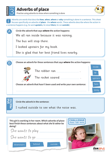 Using Adverbs Of Place Worksheet Year 3 Spag Teaching Resources