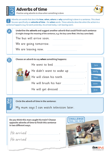 Using adverbs of time worksheet - Year 3 Spag