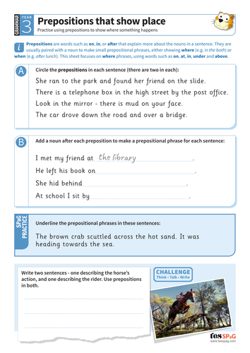 Prepositions that show place worksheet - Year 3 Spag
