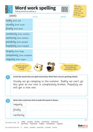 Making adverbs by adding -ly - Spelling Worksheet - Year 3 Spag