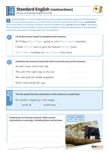Standard English contractions worksheet - Year 4 Spag