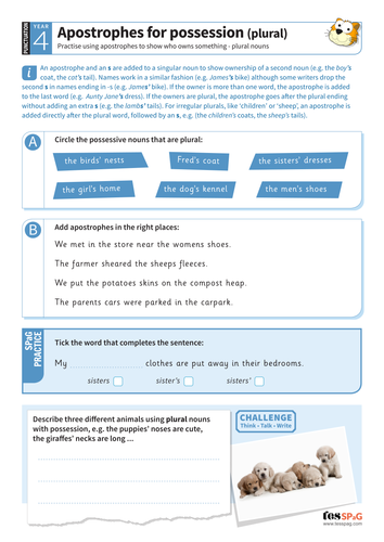 Apostrophes for possession (plural nouns) worksheet - Year 4 Spag