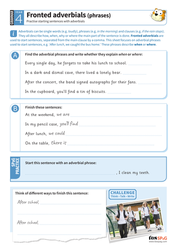 Fronted adverbials (phrases) worksheet - Year 4 Spag