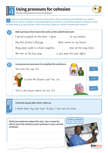 Pronouns for cohesion worksheet - Year 4 Spag