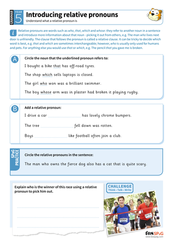 Introducing relative pronouns worksheet - Year 5 Spag