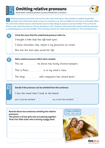 Omitting relative pronouns worksheet - Year 5 Spag