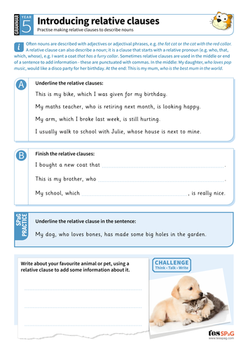 Introducing relative clauses worksheet - Year 5 Spag