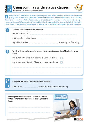 Using commas with relative clauses worksheet - Year 5 Spag