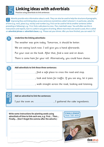 Linking ideas with adverbials worksheet - Year 5 Spag