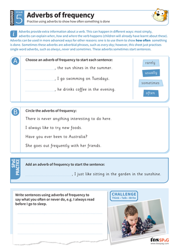 Using adverbs of frequency worksheet - Year 5 Spag