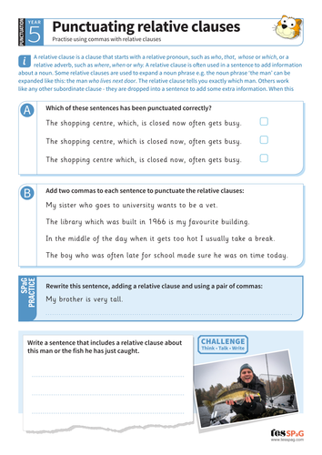 Punctuating relative clauses worksheet - Year 5 Spag