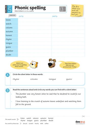 Silent letters (t, n, h, u, b) - Spelling Worksheet - Year 5 Spag