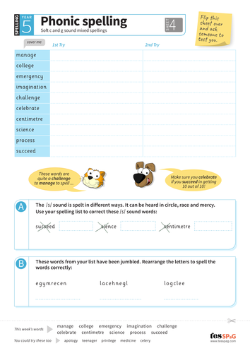 Soft c and g - Spelling Worksheet - Year 5 Spag