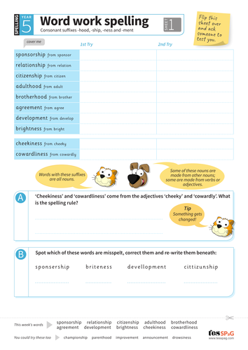 Suffixes -hood, -ship, -ness, -ment - Spelling Worksheet - Year 5 Spag