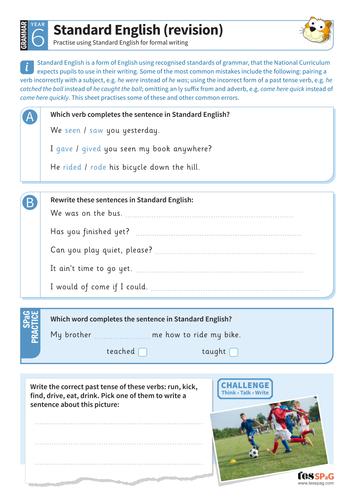 Standard English (revision) worksheet - Year 6 Spag