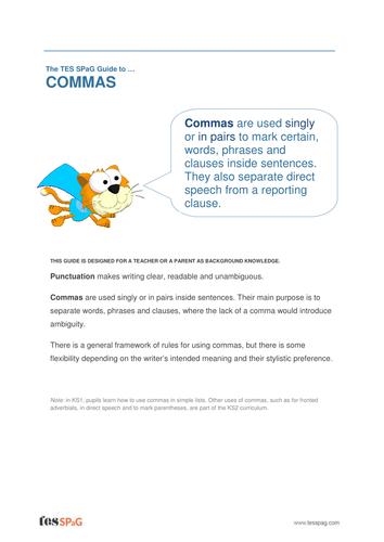 Commas - Teacher/Parent Spag Guide