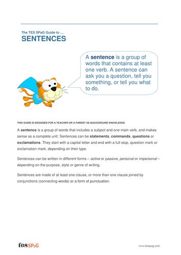 Sentences - Teacher/Parent Spag Guide