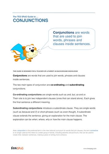 Conjunctions - Teacher/Parent Spag Guide