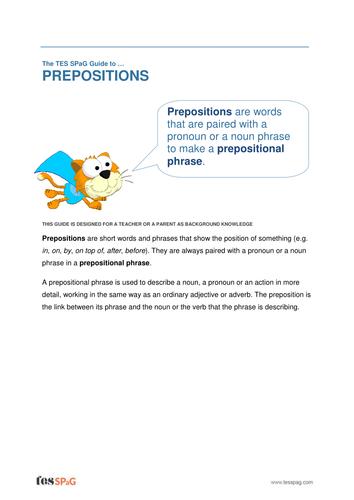 Prepositions - Teacher/Parent Spag Guide