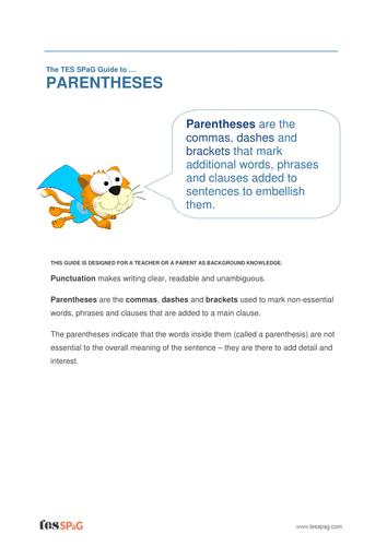 Parentheses - Teacher/Parent Spag Guide