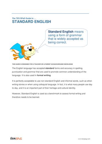 Standard English - Teacher/Parent Spag Guide