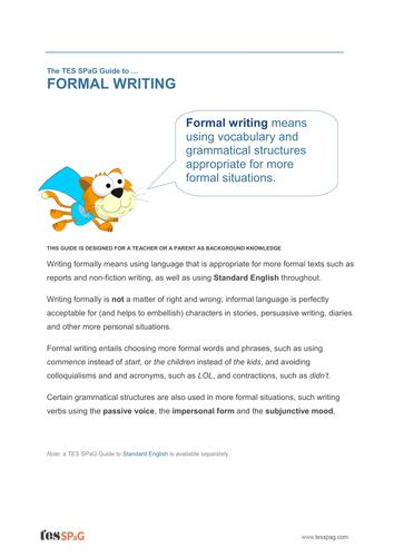 Formal Writing - Teacher/Parent Spag Guide