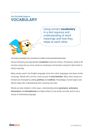 Vocabulary - Teacher/Parent Spag Guide