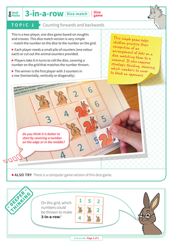 Counting Forwards and Backwards - Dice Game: 3-in-a-row - EYFS Number