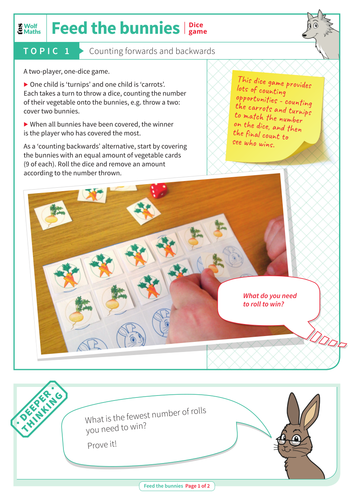 Counting Forwards and Backwards - Dice Game: Feed the Bunnies - EYFS Number