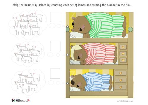 Bears Counting Lambs Worksheet - EYFS Number