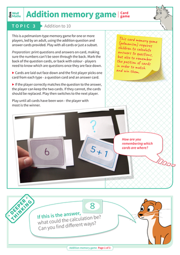 Addition to 10 - Addition Memory Game - EYFS Number