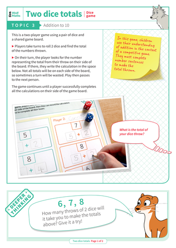 Addition to 10 - Dice Game - EYFS Number