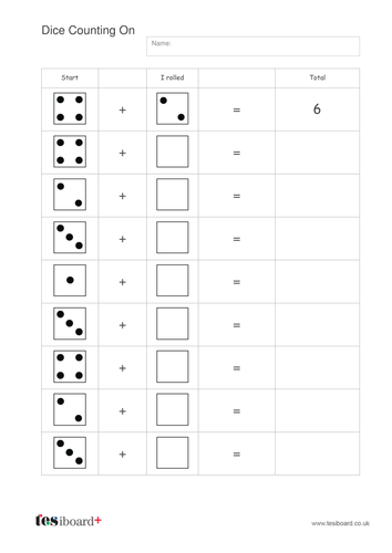 Addition to 10 - Adding Dice Worksheet - EYFS Number