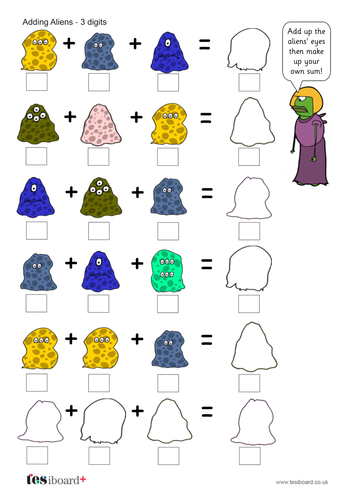 Addition to 10 - Adding Aliens: Three Digits Worksheet - KS1 Number