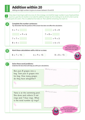 Addition up to 20: answer between 10 and 20 - Adding One-Digit Numbers Worksheet - KS1 Number