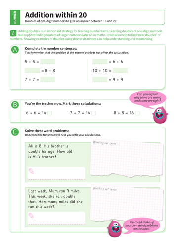 Addition up to 20 - Adding Doubles Worksheet - KS1 Number