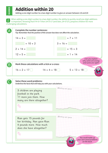 Addition up to 20 - Adding One-Digit and Two-Digit Numbers Worksheet - KS1 Number