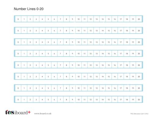 Number Lines 0-20 Worksheet - KS1 Number