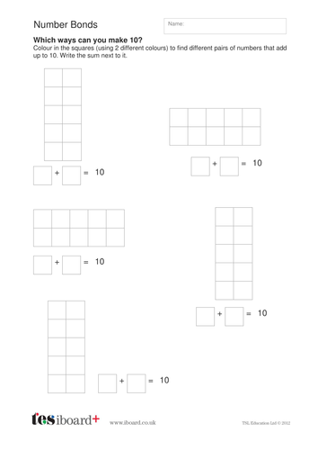 Number Bonds Worksheet - KS1 Number