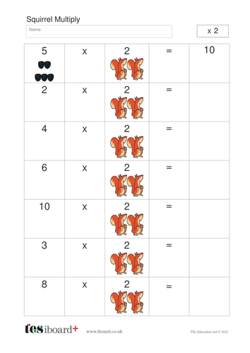 Squirrel and Berries Multiplication and Division Worksheet - KS1 ...