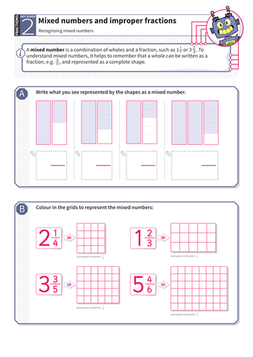 Recognising Mixed Numbers Worksheet - KS2 Number by Tes_elements ...