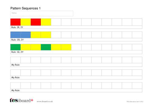 Pattern Sequences Worksheet - KS1 Geometry