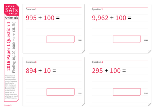 Adding 10, 100 and 1,000 - KS2 Maths Sats Arithmetic - Practice Worksheet