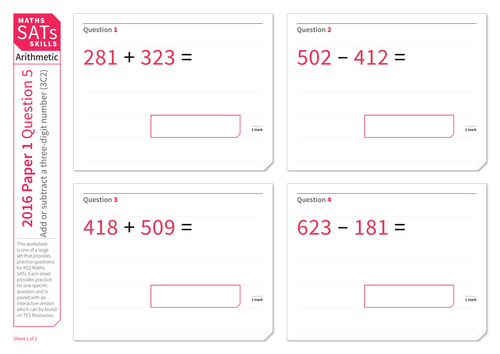 Adding and subtracting with three-digit numbers - KS2 Maths Sats Arithmetic - Practice Worksheet
